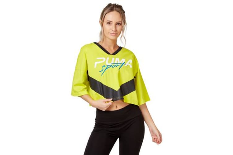 Puma Women's Xtreme Cropped V-Neck Top (Sulfur Spring, Size L)