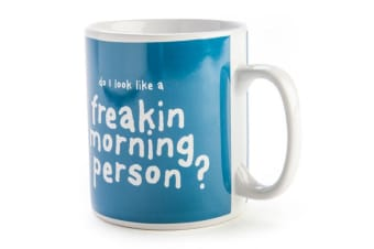 900ml Giant Coffee Mug 'DO I LOOK LIKE A FREAKIN MORNING PERSON' Novelty Cup