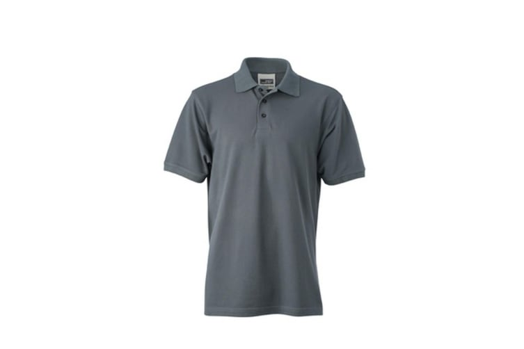 James and Nicholson Mens Workwear Polo (Carbon Grey) (L)
