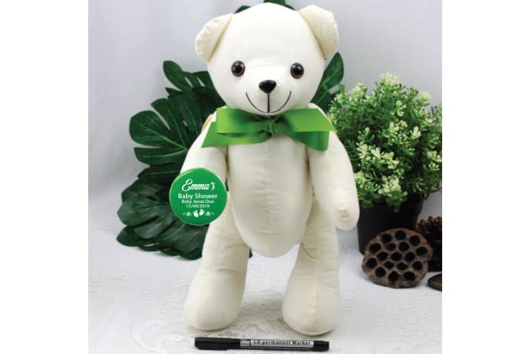 Personalised Baby Shower Signature Bear - Green Bow