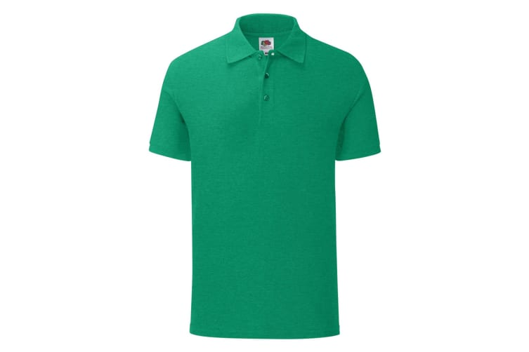 Fruit Of The Loom Mens Iconic Pique Polo Shirt (Heather Green) (S)