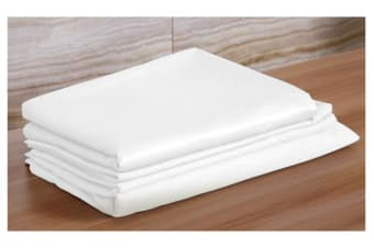 Luxury Super Soft Silky Satin Fitted/ Flat Sheet Pillowcases Bed Set WHITE Queen