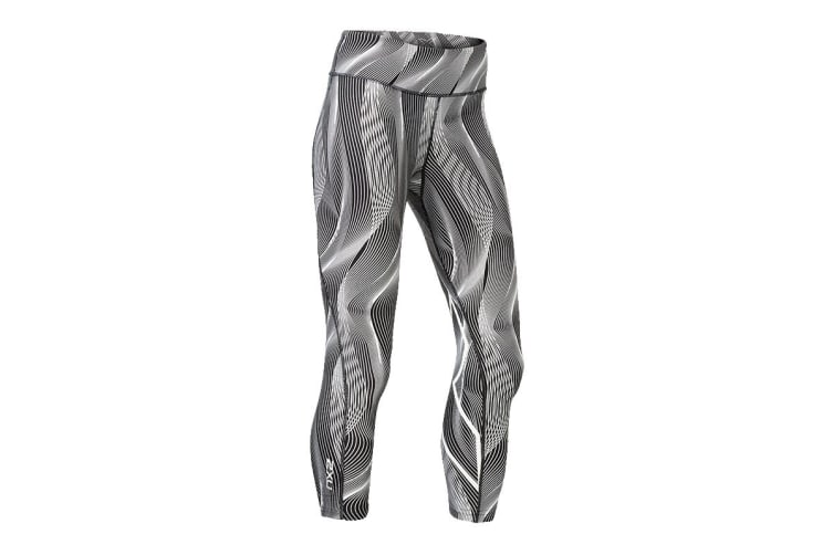 2XU Women's Mid-Rise Print 7/8 Compression Tights (White Vertical Curve/White, Size XS)