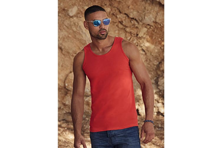 Fruit Of The Loom Mens Athletic Sleeveless Vest / Tank Top (Red) (M)