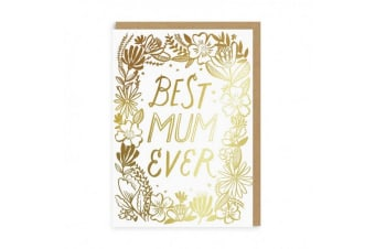 Ohh Deer Best Mum Ever Greeting Card (Gold) (One Size)