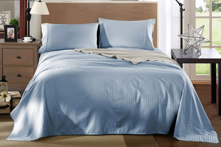 Royal Comfort Kensington 1200TC 100% Egyptian Cotton Stripe Bed Sheet Set (Double, Chambray)