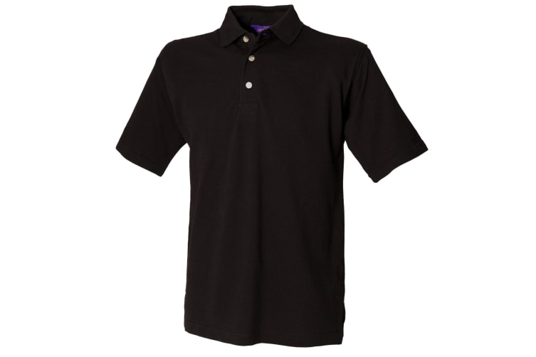 Henbury Mens Classic Plain Polo Shirt With Stand Up Collar (Black) (3XL)