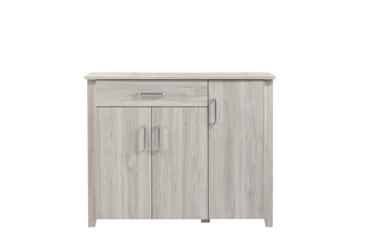Modern Large Shoe Cabinet Storage w/ 3 Door 1 Drawer - White Oak