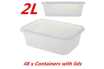48 x TAKE AWAY CONTAINERS with LIDS 2000ML DISPOSABLE PLASTIC FOOD CONTAINER 2L
