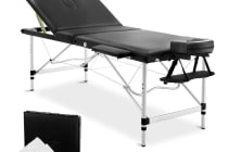 Portable Aluminium 3 Fold Massage Table Chair Bed (Black) 75cm