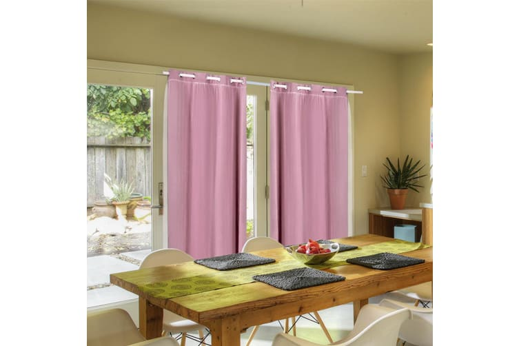 2X Blockout Curtains Panels Blackout 3 Layers Room Darkening Pure With Gauze NEW  -  Rose Blush180x230cm (WxH)