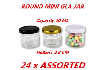 24 x 30ml Mini Round Honey Pot Glass Jar With Assorted Color Lid Spice Lolly Jam Conserve