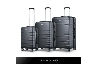 3 Pcs Luggage Suitcase Set Dark Grey Hard Shell ABS Case w/TSA Lock