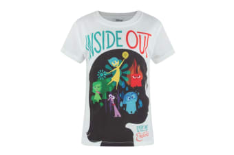 Inside Out Official Girls Sublimation Character T-Shirt (White)