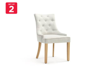 Shangri-La Set of 2 Studded French Provincial Fleur Dining Chairs (Beige Linen)