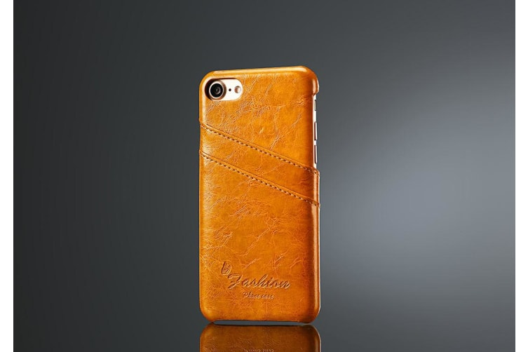 For iPhone 8 7 Case Elegant Deluxe High-Quality Protective Leather Cover Yellow