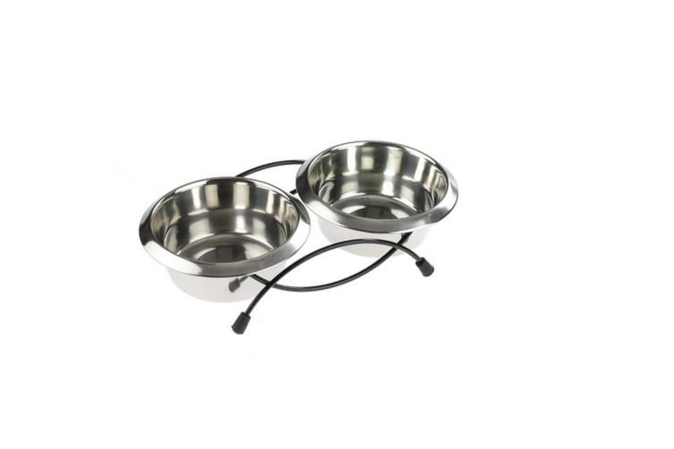 Caldex Classic Anti Tip Twin Feeder And Dishes (Metal) (Large)