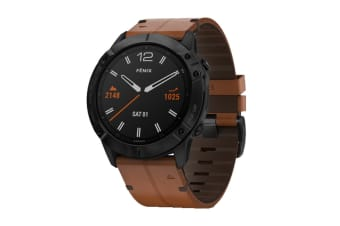 Garmin Fenix 6X Sapphire Pro (Black with Chestnut Leather Band)