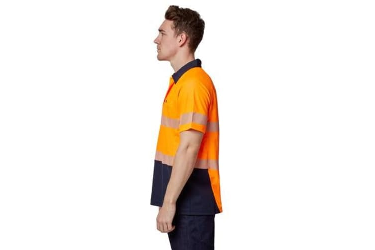 Hard Yakka High Visibility Two-Tone Short Sleeve Ventilated Polo Top (Orange, Size 3XL)