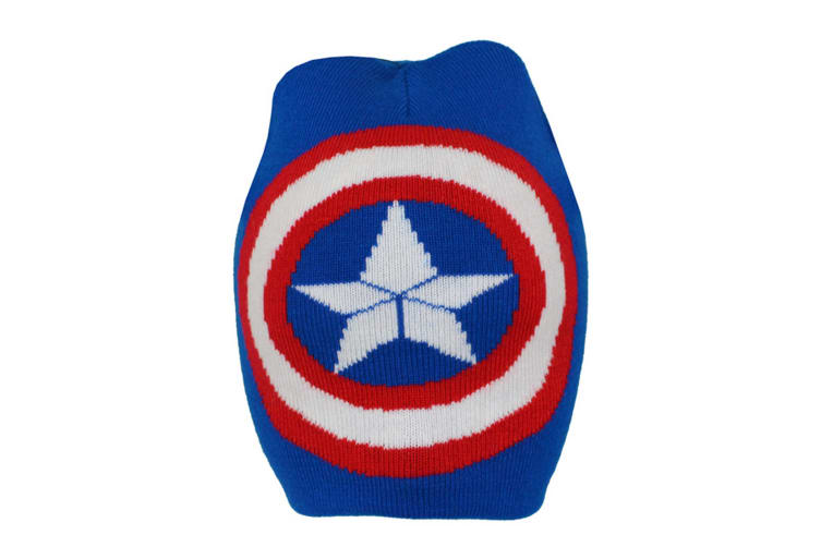 Captain America Childrens/Boys Official Logo Roll Down Beanie Hat (Blue) (Junior)