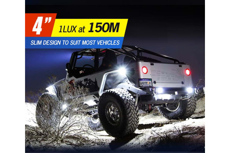 "LIGHTFOX 2x 4""inch CREE LED Light Bar SPOT FLOOD 3Row Work Fog Lamp Offroad 4x4"