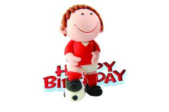 Creative Football Player Design Birthday Party Cake Topper (Red) (One Size)