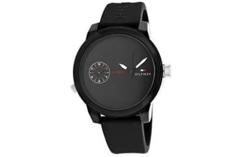 Tommy Hilfiger Men's Denim Watch (Black Dial, Rubber Strap)