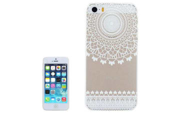 For iPhone SE 5S 5 Case White Top Mandala Transparent Durable Shielding Cover