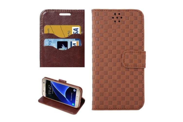 For Samsung Galaxy S7 Wallet Case  Grid Durable Shielding Cover Coffee