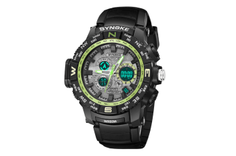 Student'S Electronic Watch Sports Waterproof Digital Watch Black Green