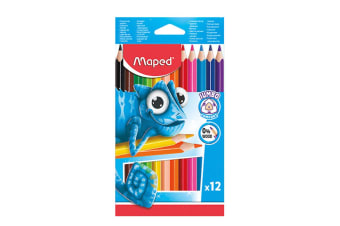 12pc Maped Pulse Jumbo Kids 0% Wood Triangular Drawing Colouring/Colour Pencils