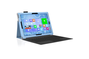 "Microsoft Surface Pro 7 (12.3"") Slim Folio Flip Case by MEZON – Compatible with Type Cover Keyboard – With Screen Protector and Stylus – Sky Blue"