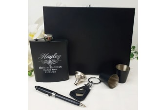 Mother of the Groom Engraved Black Flask Set in Gift Box