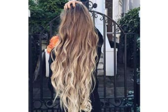 "Two Tone Ombre High Grade Brown Curly Hair 7Piece 16Clips 24"" Hair Extension 01"