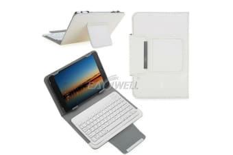 For Samsung Galaxy Tab A 8.0 2018 T387 Tablet Stand Case Bluetooth Keyboard Cover-White