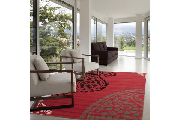 Funky Paisley Design Rug Red Black 230x160cm