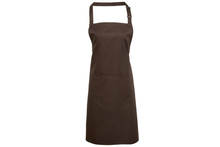 Premier Ladies/Womens Colours Bip Apron With Pocket / Workwear (Pack of 2) (Brown) (One Size)
