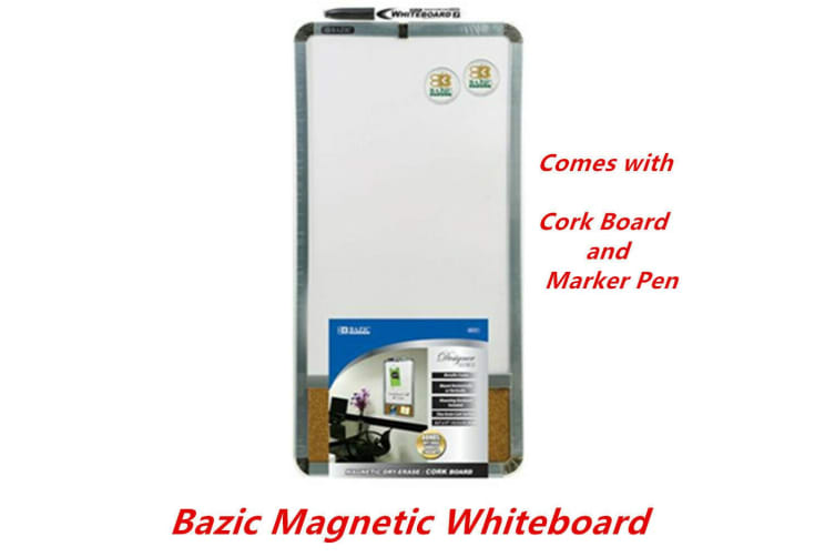 2 x Bazic Magnetic Whiteboard Dry Erase Cork board Marker Pen and Magnets 22x44cm
