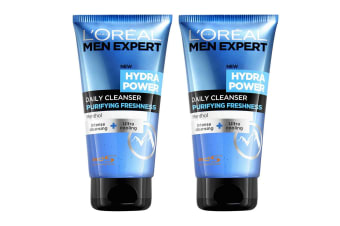 2x Loreal Paris 150ml  Men Expert Hydra Power Face Wash Facial Cleanser Menthol