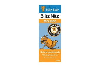 175ml Blitz Nitz Mousse Euky Bear Natural Nits Head Lice Treatment Essential Oil