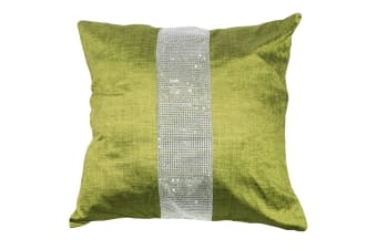 Panache Eclat Diamante Strip Cushion Cover In 8 Colours (Cushion Pad Not Included) (Moss)