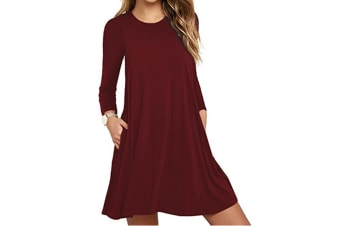 Women's Pockets Dress Casual Swing T-shirt Dresses