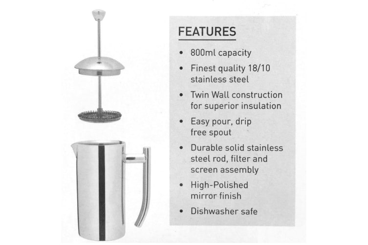 Avanti 800ml Stainless Steel Twin Wall Coffee French Press Maker Plunger Filter