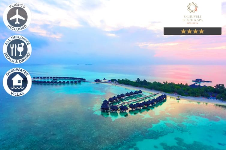 MALDIVES: 5 Nights All Inclusive at Olhuveli Beach & Spa Resort Including Flights For Two (Grand Water Villa)