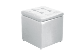 PU Leather Cube Ottoman Box Hinge Top Seat Storage White