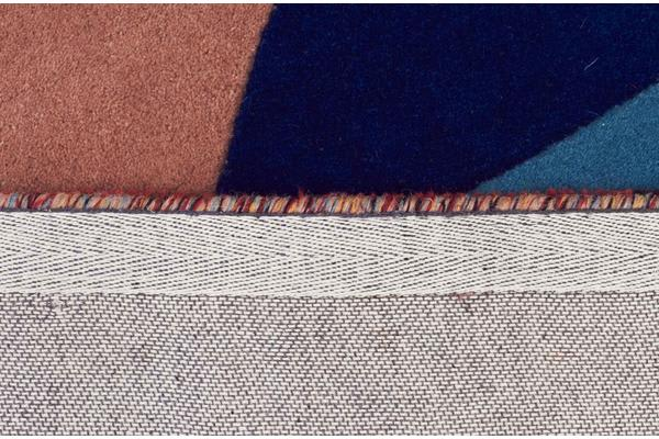 Sandy Designer Wool Rug Rust Blue Navy 300x80cm