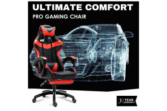 Ultimate Comfort Pro Gaming Chair Racing Office Chair Red with Footrest
