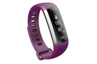 """Bluetooth V4.0 Fitness Band Watch 0.96"""" Oled Heart Rate Blood Oxygen Ip67 Purple"""