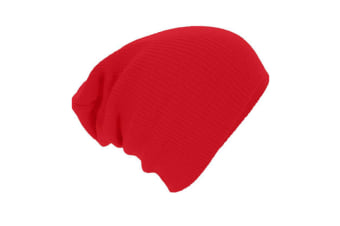 Classic Swag Style Warm And Soft Slouchy Knitted Beanie Cap Red