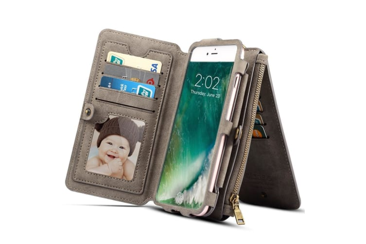 For iPhone XS X Wallet Case Elegant Sheep Durable Protective Leather Cover Grey
